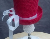 Vintage Table Lamp with Red Tophat Shade, Hobnail, Milk Glass, 1950s