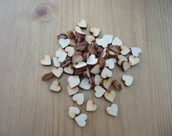 Wooden Hearts pack of 50, 1 cm hearts, wedding hearts, scrap book, embellishment, art and craft. Card making, Christmas Hearts