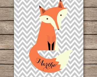 Baby name wall art printable, fox nursery decor with name, chevron fox name, customized nursery decor, personalized nursery-INSTANT DOWNLOAD