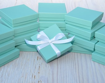 20 Turquoise Matte 3.5x3.5x1 Gift Jewelry Boxes Square with Cotton Fill