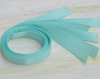 "20 Piece Turquoise Satin Ribbon 33"" Length PreCut for Gift Jewelry Box - Double Face Tiffany Blue"