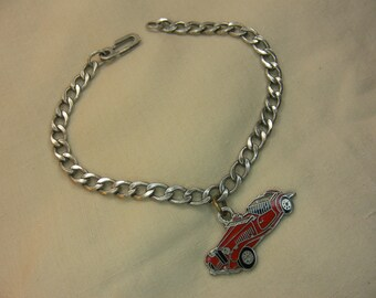 Vintage Sterling Automobile Charm on Elliptical Link Chain, circa late 1960s