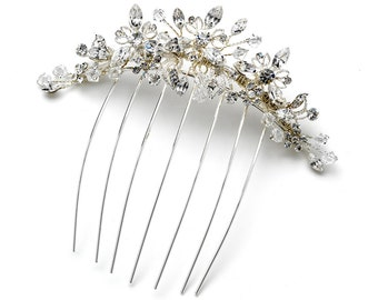 Floral Hair Comb with Swarovski Crystal Beads & Rhinestones