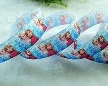 """7/8""""22mm 100yds Disney Princess FROZEN Elsa&Anna Printed Sisters Grosgrain Ribbon Hairbow Wholesale by the yard Supply 2317"""