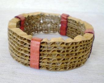 Brown Bracelet Cardboard Recycled Jewelry Large Bangle Bracelet Eco Friendly Jewelry Thick Chunky Bangle / Χειροπέδα από Χαρτόκουτα
