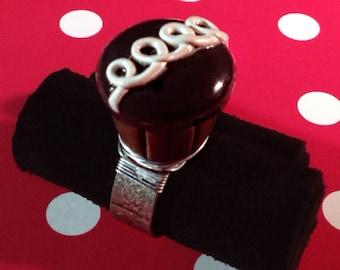 Chocolate Cupcake ring, miniature food jewelry, polymer clay jewelry