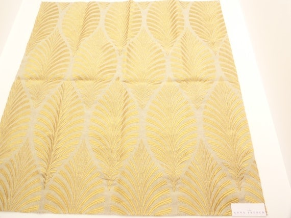 Anna french deilen embroidery fabric sample gold on