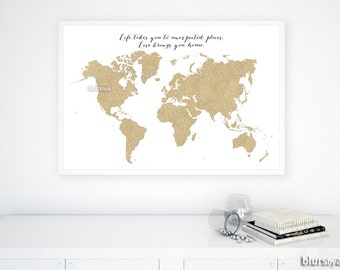"Custom quote, size and color PRINTABLE world map, gold glitter map, gold map, gold world map, gold nursery decor diy - 36x24"" 30x20""- map035"