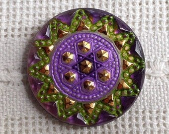 Large Hand Painted Czech Glass Button - Purple and Green - 34 mm - (1 3/8 Inch)