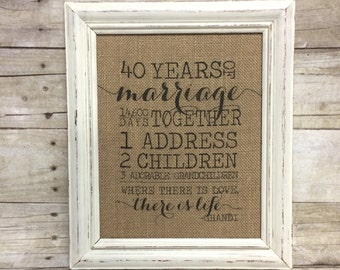 Where There Is Love There Is Life Milestone Anniversary Sign Gift Burlap Cotton Art Print Important Numbers Dates Customized Grandparents