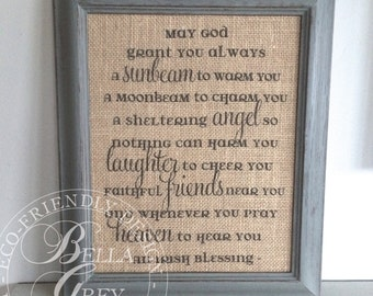 Irish Blessing Prayer   Celtic Blessing   Christian Burlap Sign Cotton Art  Print   Christening Gift