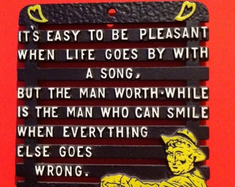 Vintage Trivet with Will Rogers quote