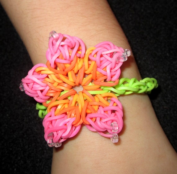 items similar to hibiscus flower rainbow loom bracelet