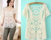Handmade Cream Blouse Embroidery Crochet Top Lave Tulle See Through Tops Short Sleeve Unique Design Women Summer Clothing  WC303