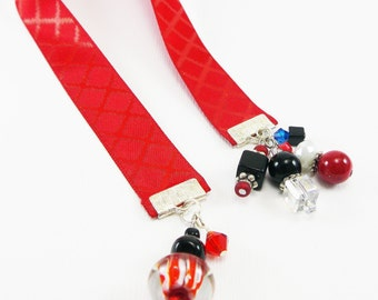Red Ribbon Bookmark - Beaded Bookmarks - Accessories Gifts for Readers