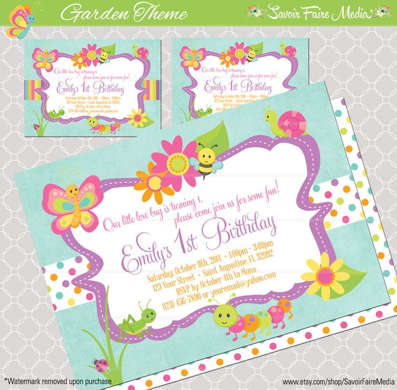 Bug Insect Themed 1st Birthday Party Invitation for Girls