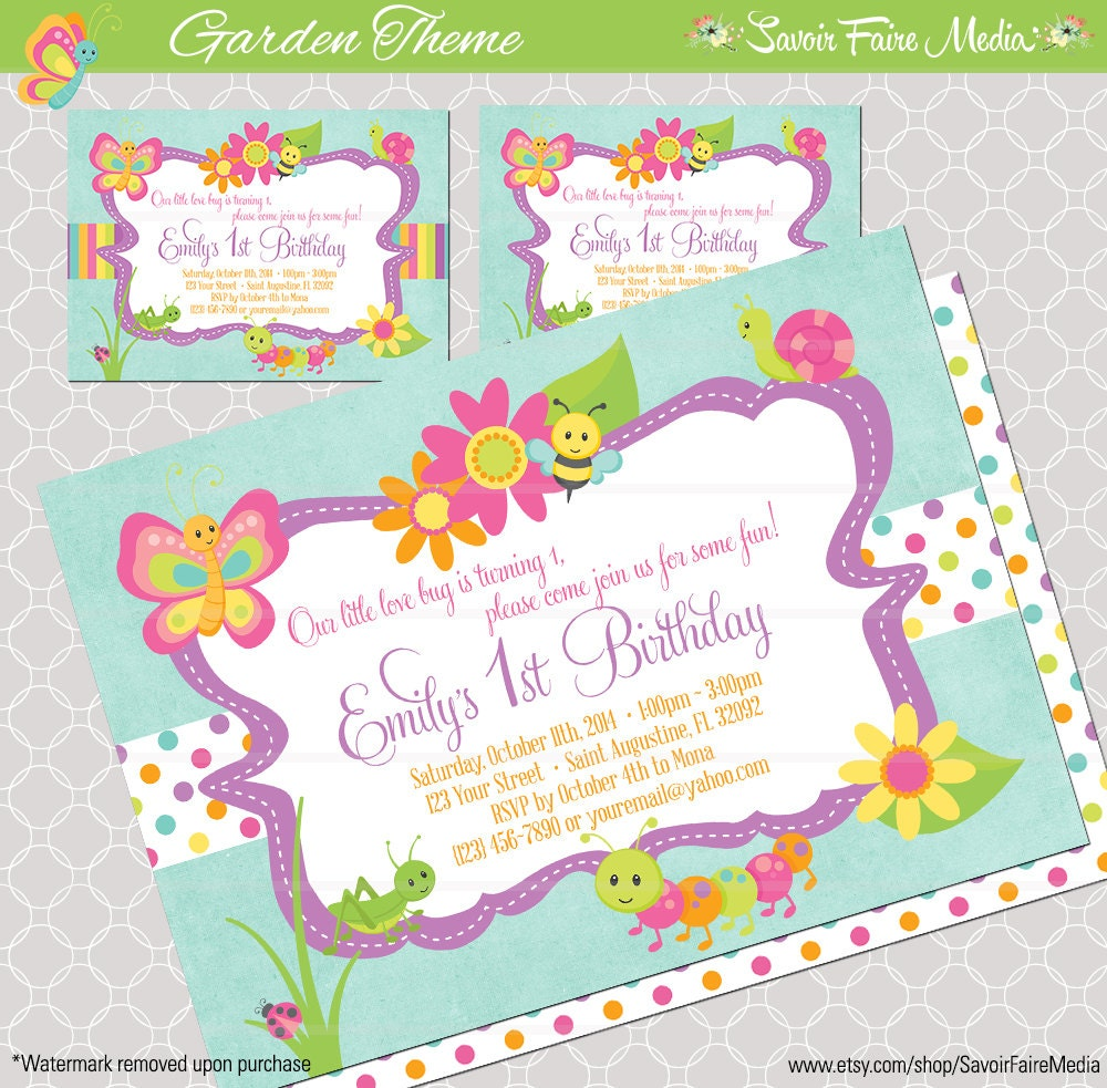 Garden Theme Party Invitations Bug Insect Themed 1st Birthday Invitation For Girls