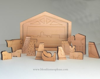 Cedar Wood Nativity Puzzle - Vintage Inspired