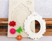 Set oval setting frame flowers, flexible silicone mold, mould, for polymer clay, М158 (7/6)