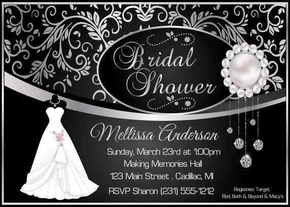 Elegant bridal shower invitation black damask silver for Black and white bridal shower invitations