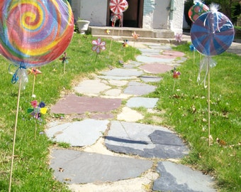 Hand painted party decoration hard candy and large lolly pops