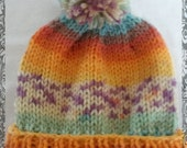 Rainbow pom pom hat knitted hat with rainbow colours newborn baby toddler child teen adult