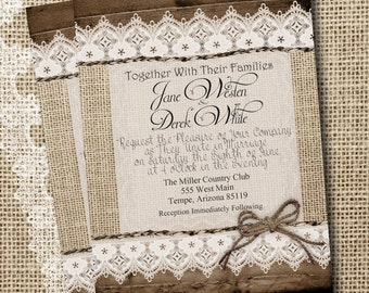 Burlap and Lace Wedding Invitation, Rustic, Wood fence, Twine, Printable, Digital File, Personalized, 5x7,