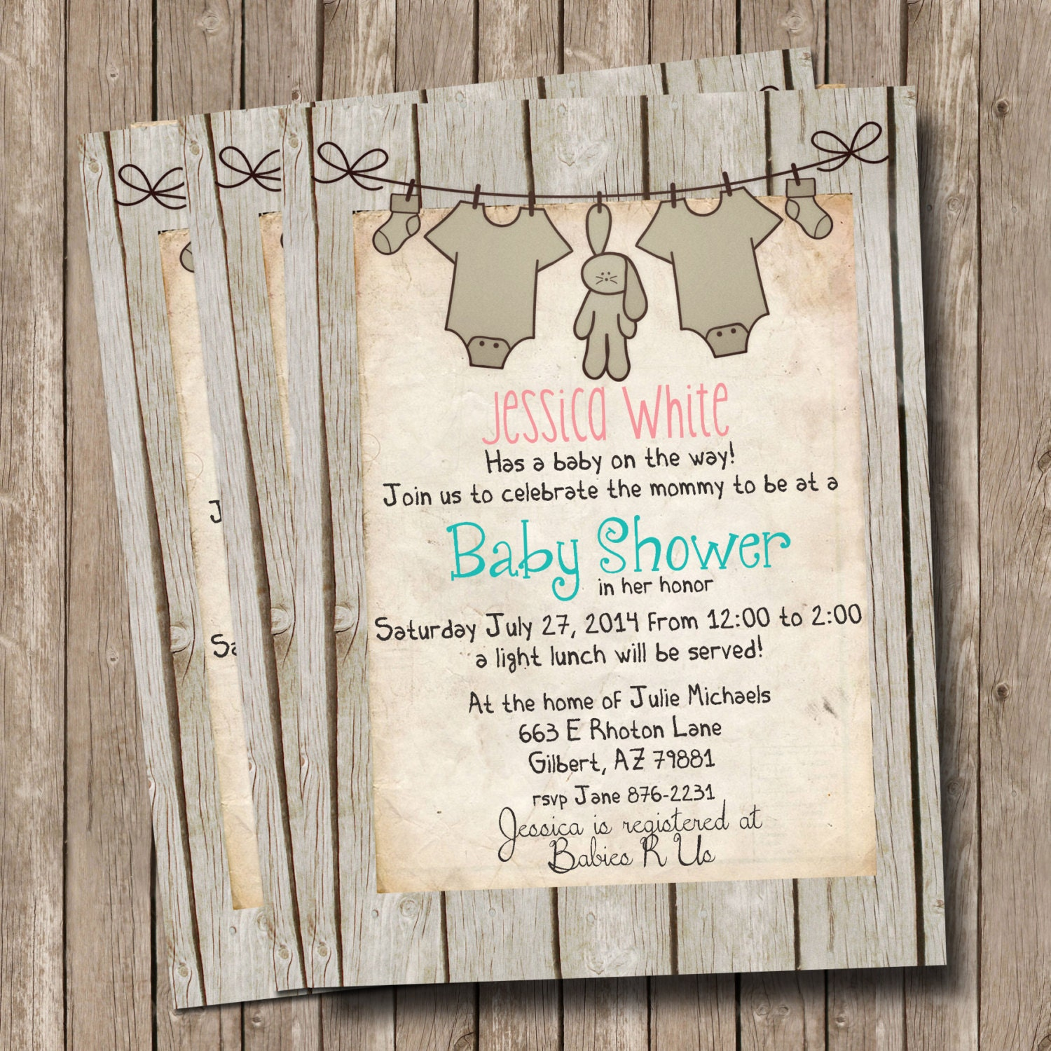 Rustic Baby Shower Invitation Invite Wood Shabby