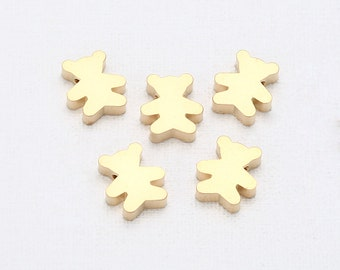 Bear  Brass Pendant Matte Gold-Plated - 2 Pieces [SA0010-MG]