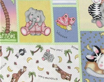Abc S And Stuffed Animals Patchwork On Yellow 100 Cotton