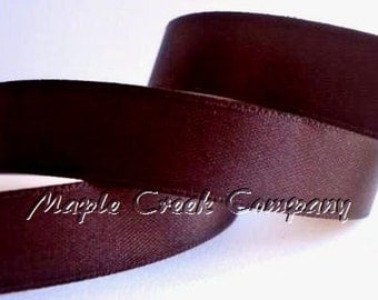 "Brown Double Face Satin Ribbon, 5 Widths Available: 1 1/2"", 7/8"", 5/8"", 3/8"", 1/4"""