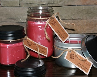 Holiday WARM SPICES Maple Creek Candles ~ A Spicy Combination ~ Soy Wax Blend, 3 sizes, Fun Rustic Jar Lid