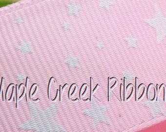 "1"" Light Pink Grosgrain Ribbon with White Stars 1"" x 1 yard"
