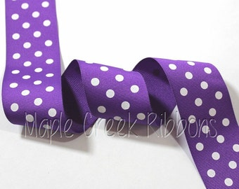 "1-1/2"" Purple with White Polka Dot Grosgrain Ribbon 1-1/2"" x 1 yard"