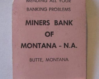 Miners Bank of Montana, Butte Montana Advertising Sewing Kit