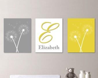 Baby Girl Nursery Art - Dandelion Nursery Art - Dandelion Bedroom Decor - Dandelion Art - Dandelion Decor - Monogram - Pick the Size(NS-201)