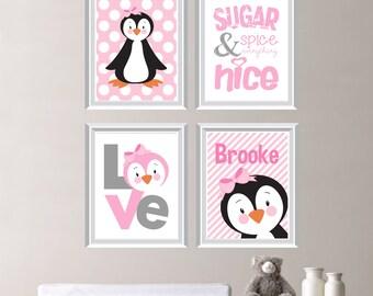 Baby Girl Nursery Art Prints - Girl Nursery Decor - Girl Nursery Art - Penguin Nursery Art - Penguin Art - Penguin Decor. Pink Gray (NS-242)