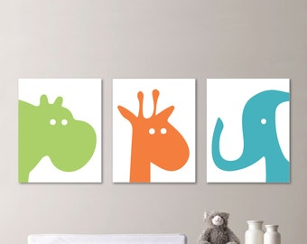 Baby Boy Nursery Art - Hippo Nursery Art - Giraffe Nursery Decor - Elephant Nursery - Zoo Animal Nursery Art - Orange Green Blue -  (NS-591)