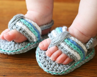 Handmade crochet Sporty Flip Flops, crochet baby shoes, crochet baby flops, baby shower gift, cotton baby shoes, baby shoes, MADE TO ORDER
