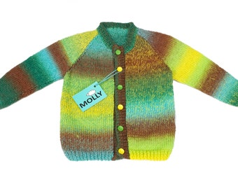 Spring meadow hand made artistic woolen boy cardigan size110, 3-3,5 years old