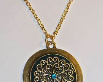 SALE NOW 15% OFF Gold and Turquoise Circle Pendant Necklace