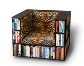 Gentleman's Luxury Library Bookcase Chair in Tiger Print - Made to Order