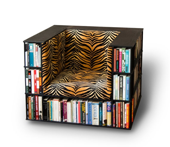 Luxury Club Library Bookcase Chair In Tiger Print Made To - Bookchair combined with bookshelf