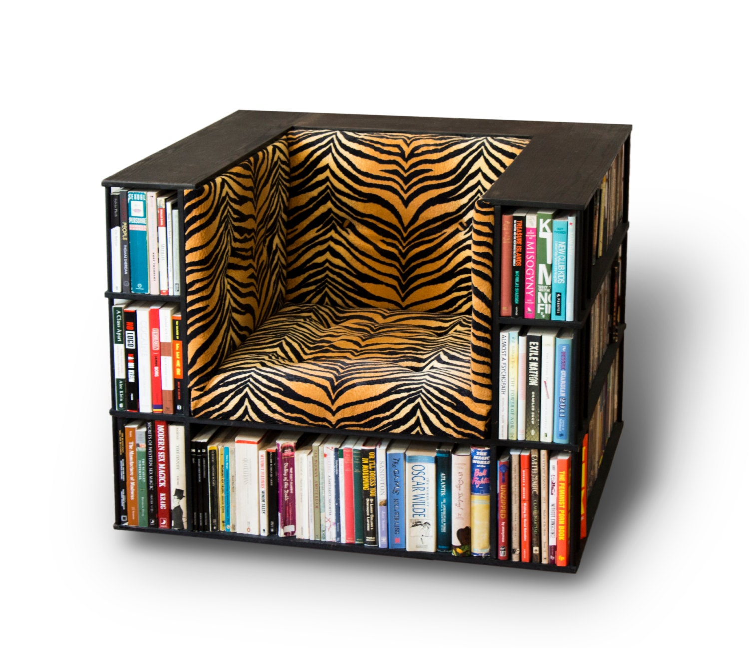 Luxury Club Library Bookcase Chair in Tiger Print Made to
