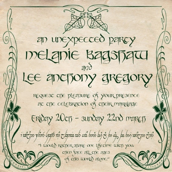 Digital/Printable LOTR wedding invitation
