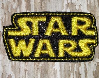 Set of 4 Star Wars Movie Title Glitter Feltie Felt Embellishment Bow! Felties Applique Birthday Party OVERSIZED Planner Leia Luke R2D2