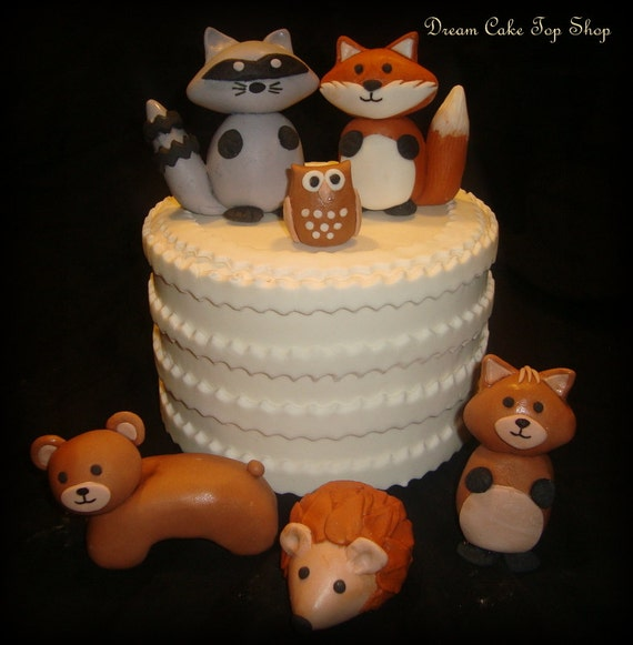 Cake Decorating Animal Figures : Woodland Animals Forest Friends Set of 6 Gumpaste Cake Toppers