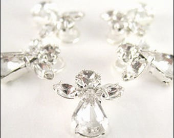 12 Diamanté angel charms. 12 x 15mm. JR05346 BULK.