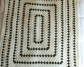 "Gender Neutral Afghan Crochet Dark Sage Light Cream Nature colors 43"" x 53"" Bedding Throw, Granny Stitch Afghan, Chair Throw, Bedroom Decor"
