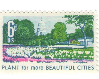 10 Unused 1969 Plant for More Beautiful Cities - Vintage Postage Stamps Number 1365